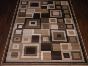 Modern Approx 6x4ft 120x170cm Woven Rugs Sale Top Quality Brown-Beige Sqaures